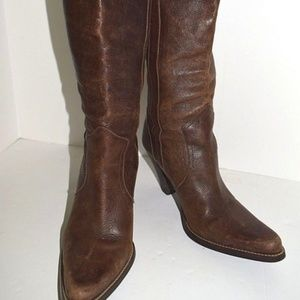 Speciall Tall Brown Leather Western Style Boots